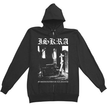 Iskra Men's  Masqueraders Of Fraud Zippered Hooded Sweatshirt Black