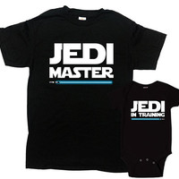 Father Son Matching Shirts Dad And Son Gifts For Movie Fans Family Outfits Dad And Baby Daddy And Me Jedi Master In Training - SA212-1081