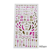SWEET TREND 1 Sheet Nail Art 3D Stickers Decals Shining Gold Pink Nail Decoration Tips Mixed Design Nail Sticker MD401-420P