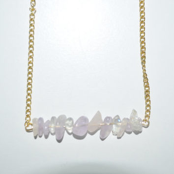 Gold Chain Bar Pendant  Necklace / Purple,Pink and White Stone Bar Necklace