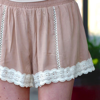 Bangin' Lace Trim Shorts {Taupe}