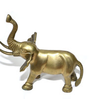 Brass Elephant Gold Elephant Statue Elephant Figurine Small Elephant Nursery Decor Elephant Nursery Jungle Nursery