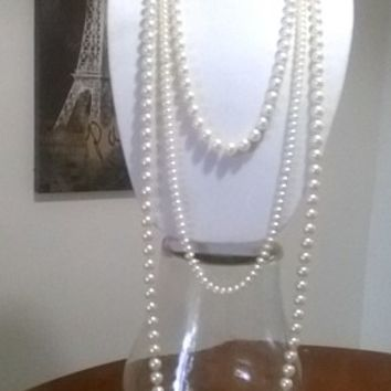 Elegant Designer Vintage Style Old Hollywood Glam Pearl Necklace