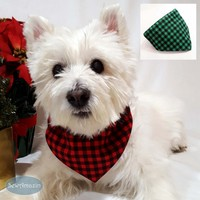 Buffalo Plaid Dog Bandana, Red or Green