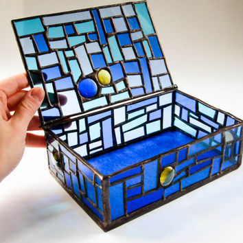 Stained Glass Jewellery Box. Beautiful Unique Handmade ... Blue Glass. Gift for her. Home Decor. Something Blue. Wedding Gift for Her.