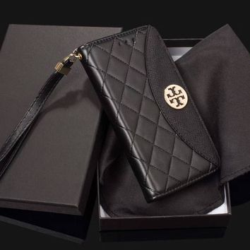 Tory Burch metal standard fashion leather case iPhone8plus mobile phone holster F-OF-SJK #1
