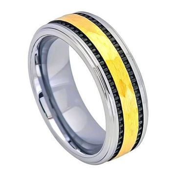 Mens Carbide Tungsten Wedding Ring Yellow Gold IP Hammered Center with Black Stripes on the side - 8mm