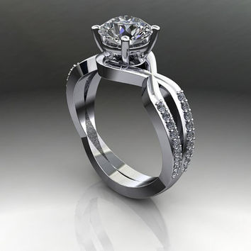 Moissanite and Diamond Modern Engagement Ring Round Forever Brilliant Moissanite 1.20 CTW