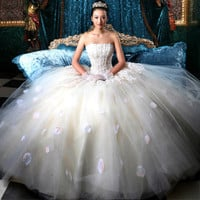 Charming Strapless Sequined Embroidery and Petal Design Floor Length Wedding Dress