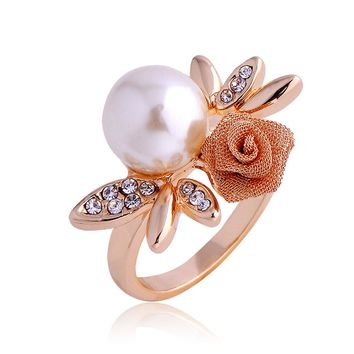 Korean style jewelry ring elegant fashion pop pearl rose flower ring hot hand jewelry For Women  Size6-10