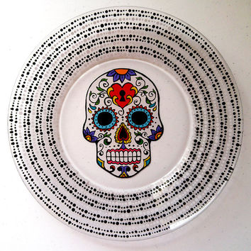 Day of the Dead Sugar Skull Plate Dia De Los Muertos Hand Painted Glass