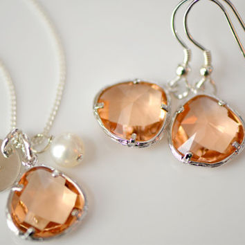 Peach - Champagne Charm, Pearl & Initial Disk Sterling Silver Necklace and Earring Set - Bridesmaid Necklace , Wedding Gift
