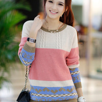 Printed Knit Long Sleeve Sweater