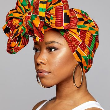 SALE - KENTE ANKARA African Print Head Wraps/Scarfs for Women - Green, Black and Orange - Ethnic Tribal
