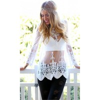 Crochet Embroidery Sheer Lace Top