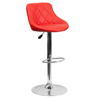 Mid-Back Tufted Diamond Bucket Seat Home Office Kitchen Bar Stools Chairs 6-Colors #82028A (Red)