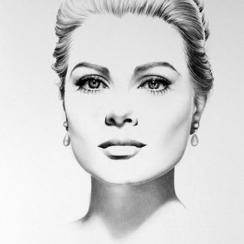 Grace Kelly  Fine Art Pencil Drawing Portrait  Signed Print