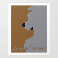 Lady and the Tramp Art Print by Citron Vert