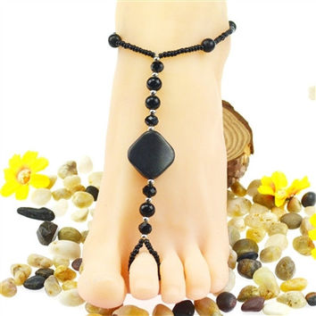 Crystal Stone Black Toe Ring Anklet Foot Jewelry