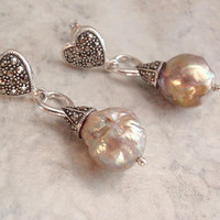 Baroque Pearl Earrings Sterling Silver Heart Marcasites Posts Upcycled Vintage V0555