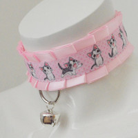 Kitten play collar - Kitty walk - bdsm proof ddlg little satin princess choker with bell - kawaii cute fairy kei white and pink