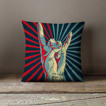 """Rock and Roll Pillow -  """"Rock on"""" Pillow Case"""