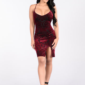 Like A Tattoo Dress - Burgundy