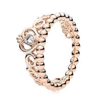 2018 Fashion size 5-10 Princess Queen Crown Engagement Ring with Clear CZ Authentic Rose Gold color Drop shipping
