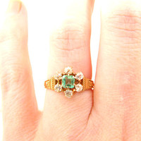 Victorian Emerald Diamond Ring, Old Cut Diamonds, Lovely Daisy Cluster Design, Crisp Details in 18K Gold