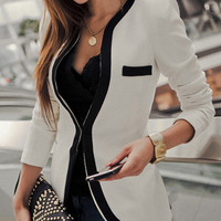 Contrast Long Sleeve Blazer