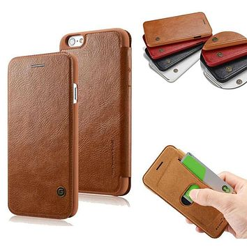 Slim Ultra Thin Leather Luxury Book Flip with Card Holder Slot Wallet Case for iPhone 6 6s Plus Brand Phone Cover Coque Capinha
