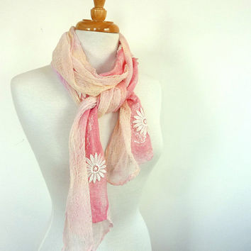 Pink Cotton Scarf - Spring Fashion Scarf - Pink Floral Scarf - Australia