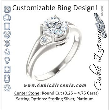 Cubic Zirconia Engagement Ring- The Erma (Customizable Round Cut 3-stone Style with Small Round Cut Accents and Tapered Split Band)