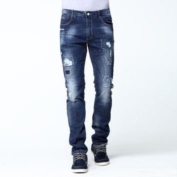 Mens Jeans Stretch Elastic Fabric Distressed Hole Skinny Slim