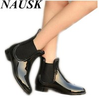 Rubber Boots 2016 Waterproof Trendy Jelly Women Ankle Rain Boot Elastic Band Solid Col