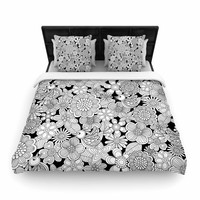 "Julia Grifol ""Welcome White Birds"" Black Floral Woven Duvet Cover"