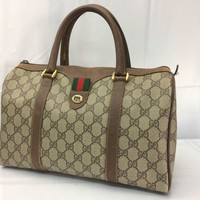 Auth GUCCI GG Pattern PVC Brown Hand Bag 8C080050r