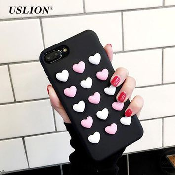 USLION Cute Candy Color Love Heart Phone Case For iPhone 7 Lovely 3D Soft TPU Back Cover Cases Capa Coque For iPhone7 6 6s Plus