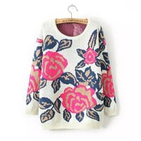Rose Print Knitted Sweater