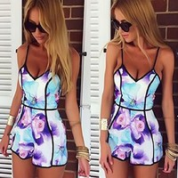 Doinshop Sexy Women Playsuit V-neck Floral Casual Trousers Jumpsuit Rompers