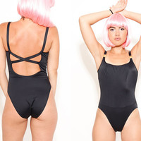 90s Black One Piece Swimsuit Classic French Designer Bathing Suit size Medium Made in France