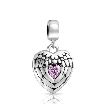 Pink Angel Heart Wing Spiritual Dangle Charm Bead Sterling Silver