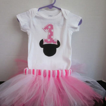 Girls 1st Birthday Minnie Mouse Themed Tutu Outfit By Sweetpeas Bows & More