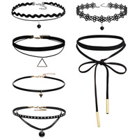 Goth Retro Velvet Lace Suede Choker Necklace 6pcs