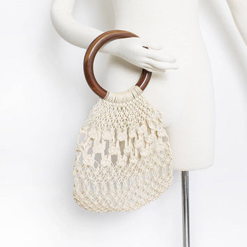 Vintage 1960s Crochet Bag - Boho Wooden Handle Purse 1970s