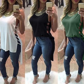 Women Summer Hollow Out Sleeveless T shirt Dress Women Clothing Loose Sexy Club Dress