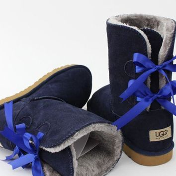 UGG:: bow leather boots boots in tube G