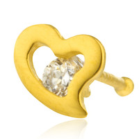 14k Gold Flat 4mm Heart Design with Stone Bone Nose Ring