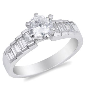 Graduating Baguette Stones 6 Prong 1.5 Carat Cubic Zirconia Sterling Silver Engagement Ring