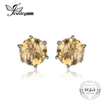 Jewelrypalace Gemstone Natural Citrine Earrings Stud Pure Solid Genuine 925 Sterling Silver 2016 Brand Women Fine Jewelry Gift